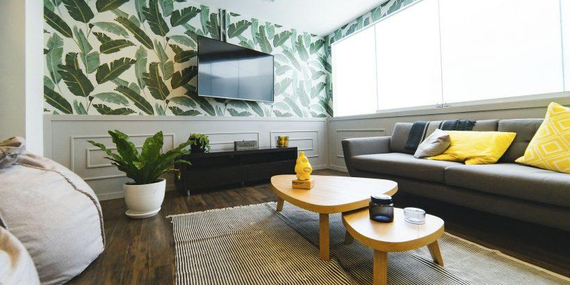 Salon moderne décoré avec tables basses, canapé, tapis et plante verte